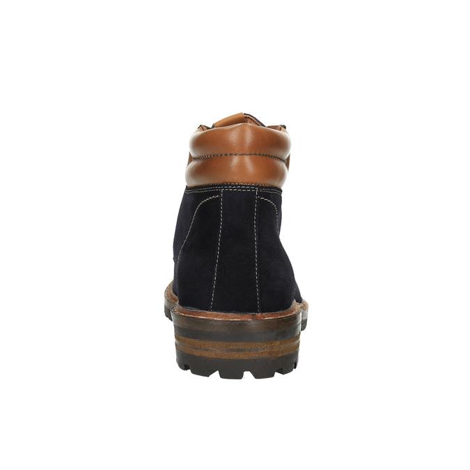 Kožená členková obuv s výraznou podrážkou bata, modrá, 893-9650 - 17