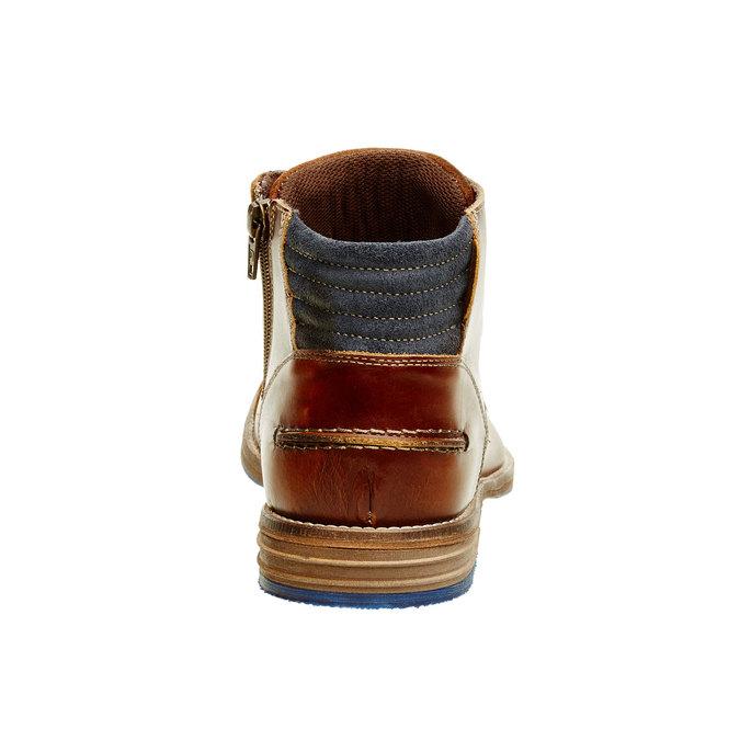 Kožená členková obuv pánska bata, hnedá, 894-4620 - 17