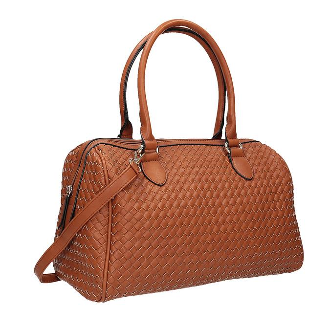 Bowling kabelka s prepletaným vzorom bata, hnedá, 961-3629 - 13