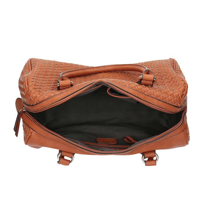 Bowling kabelka s prepletaným vzorom bata, hnedá, 961-3629 - 15