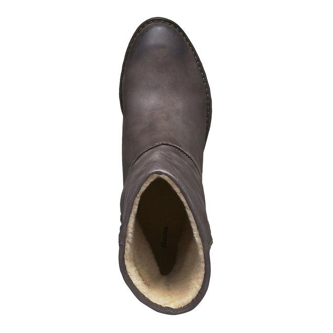 Kožené čižmy s kožúškom bata, čierna, 696-6109 - 19