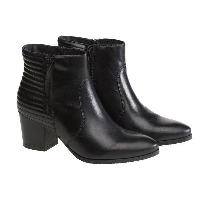 Kožené členkové čižmy so zipsami bata, čierna, 694-6105 - 26
