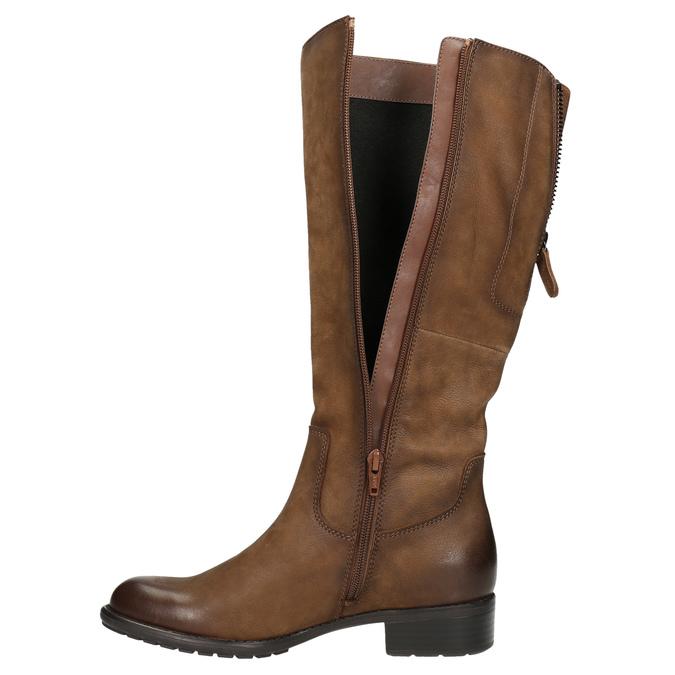 Hnedé kožené čižmy bata, hnedá, 596-4604 - 26
