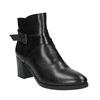 Kožená členková obuv na podpätku bata, čierna, 796-6609 - 13