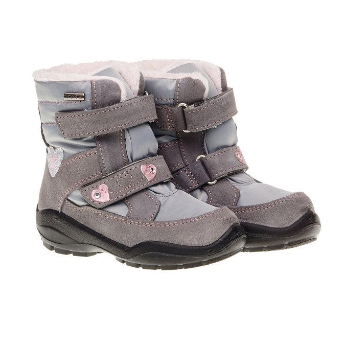 Kožené zimné topánky mini-b, šedá, 293-2152 - 26