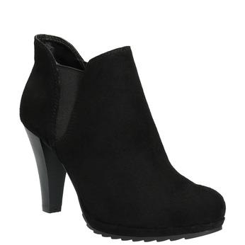 Dámska členková obuv na podpätku s pružnými bokmi bata, čierna, 799-6601 - 13