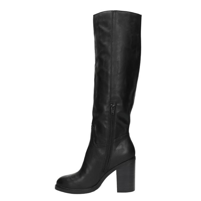 Dámske čižmy na silnejšom podpätku bata, čierna, 791-6612 - 19