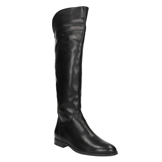 Dámske kožené čižmy ku kolenám bata, čierna, 594-6605 - 13
