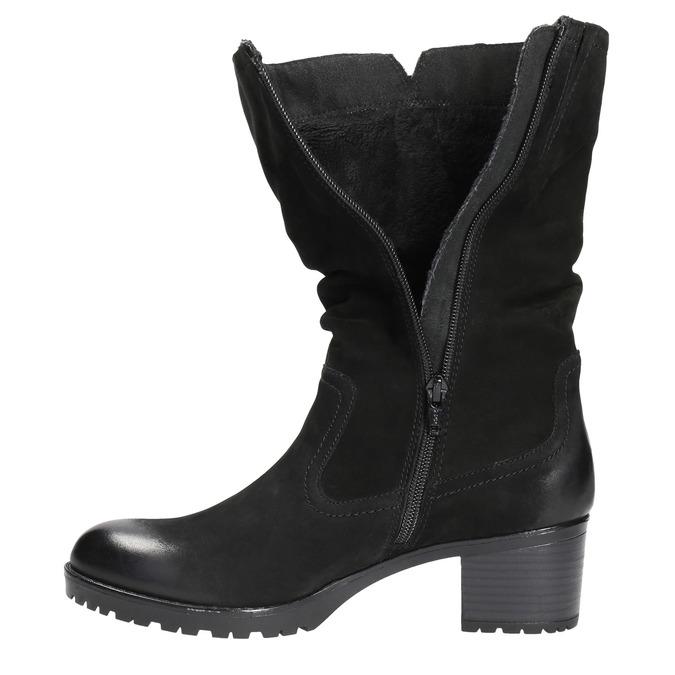 Kožená členková obuv bata, čierna, 696-6101 - 19