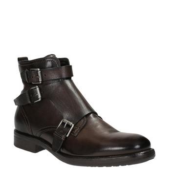 Kožená členková obuv s prackami bata, hnedá, 894-4683 - 13