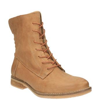 Kožená členková obuv so zateplením bata, hnedá, 596-3610 - 13