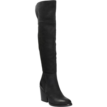 Kožené čižmy nad kolená na masívnom podpätku bata, čierna, 696-6611 - 13