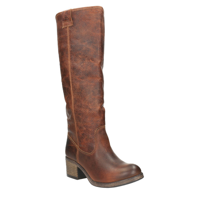Vysoké kožené čižmy vo Western štýle bata, hnedá, 696-3608 - 13
