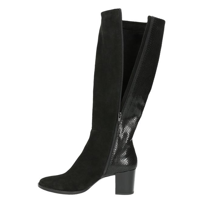 Dámske kožené čižmy bata, čierna, 696-6645 - 19