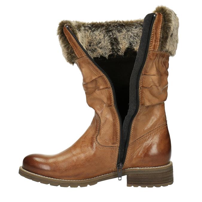 Kožené čižmy s kožúškom bata, hnedá, 594-3612 - 19