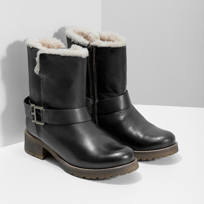 Dámska obuv s kožúškom bata, čierna, 594-6609 - 26