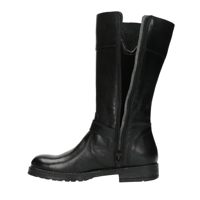 Dievčenské kožené čižmy mini-b, čierna, 394-6190 - 19