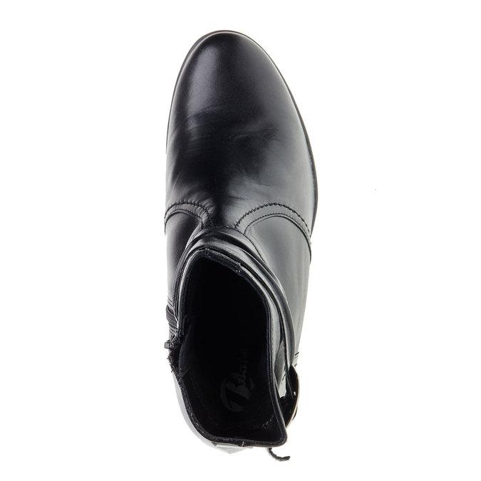 Kožená členková obuv na skosenom podpätku bata, čierna, 694-6130 - 19