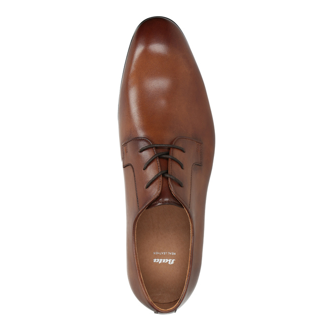 Hnedé kožené poltopánky Derby bata, hnedá, 826-3771 - 19