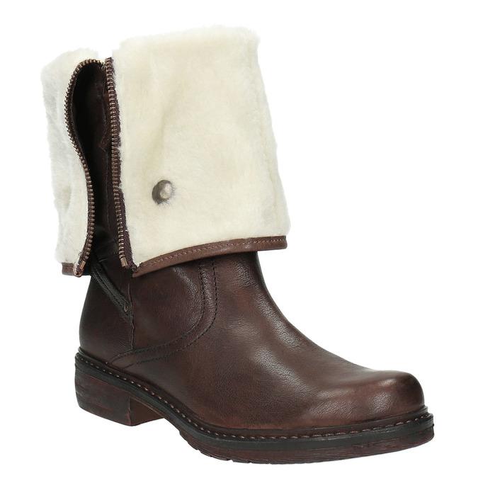 Kožená zimná obuv s kožúškom manas, hnedá, 596-4600 - 13