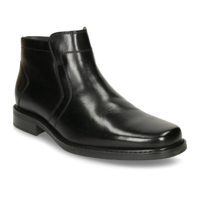 Kožená členková obuv so zateplením bata, čierna, 894-6641 - 13