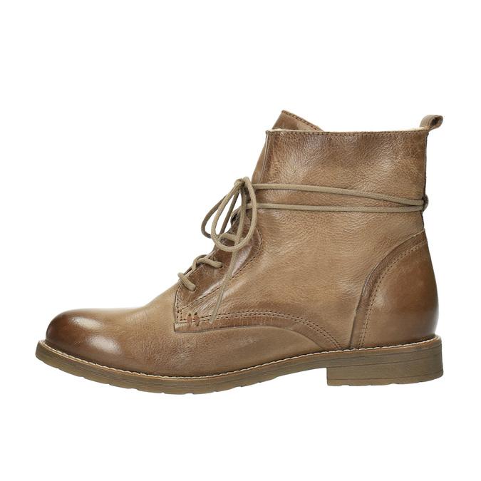 Kožená členková obuv so zateplením bata, hnedá, 594-4610 - 26