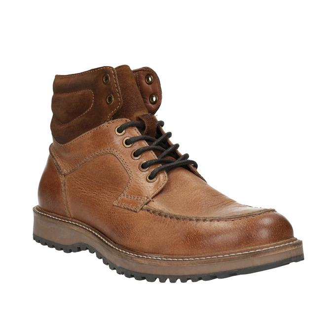 Kožená členková obuv pánska bata, hnedá, 894-3658 - 13