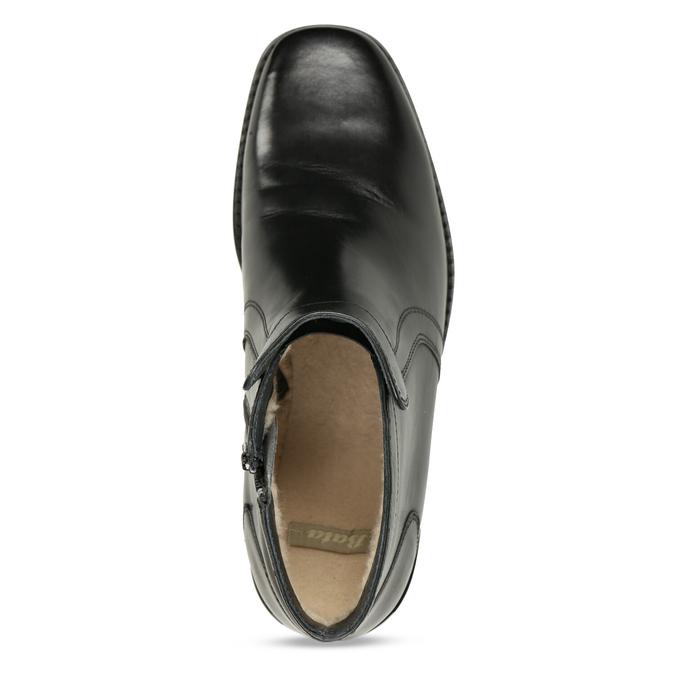 Kožená členková obuv so zateplením bata, čierna, 894-6641 - 17