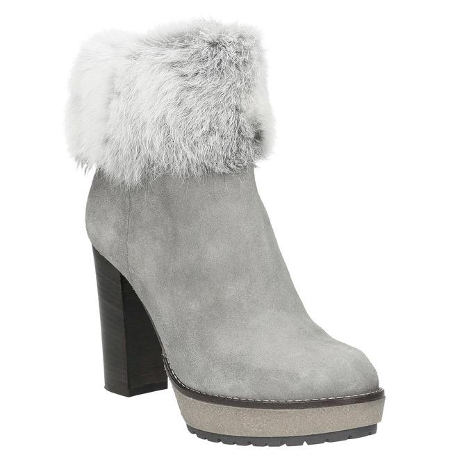 Kožená členková obuv s pravým kožuškom manas, šedá, 793-2603 - 13