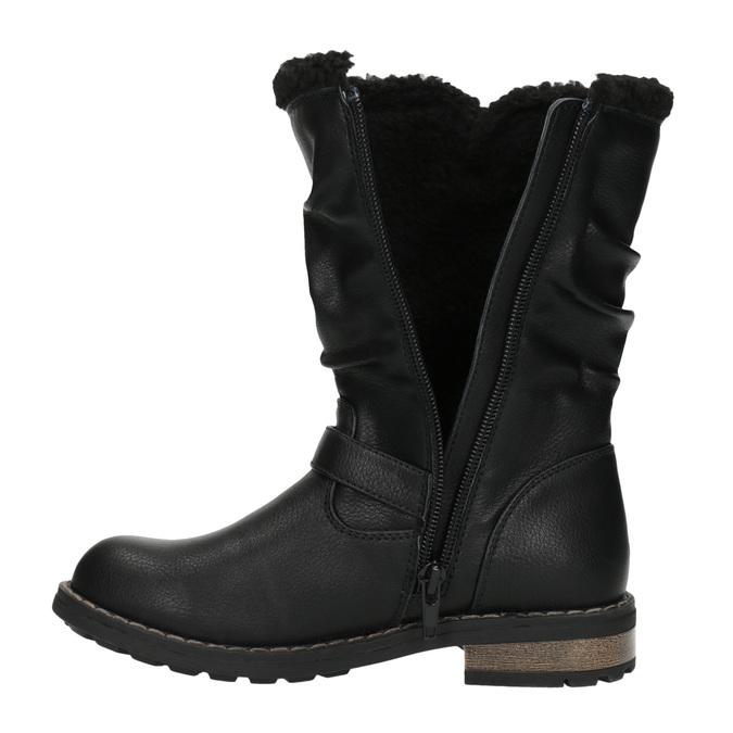 Dievčenské zateplené čižmy mini-b, čierna, 391-6653 - 19