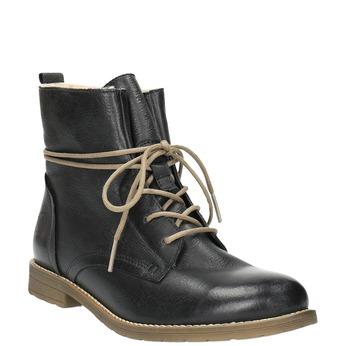 Kožená členková obuv so zateplením bata, čierna, 594-6610 - 13