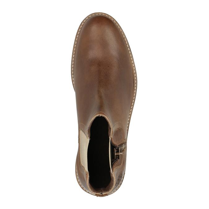 Kožená členková obuv s ozdobným zipsom bata, hnedá, 896-3654 - 19