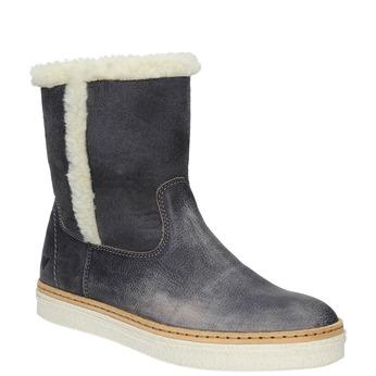 Kožená zimná obuv s kožúškom weinbrenner, modrá, 596-6628 - 13