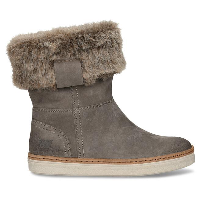 Kožená zimná obuv s kožúškom weinbrenner, šedá, 596-2633 - 19