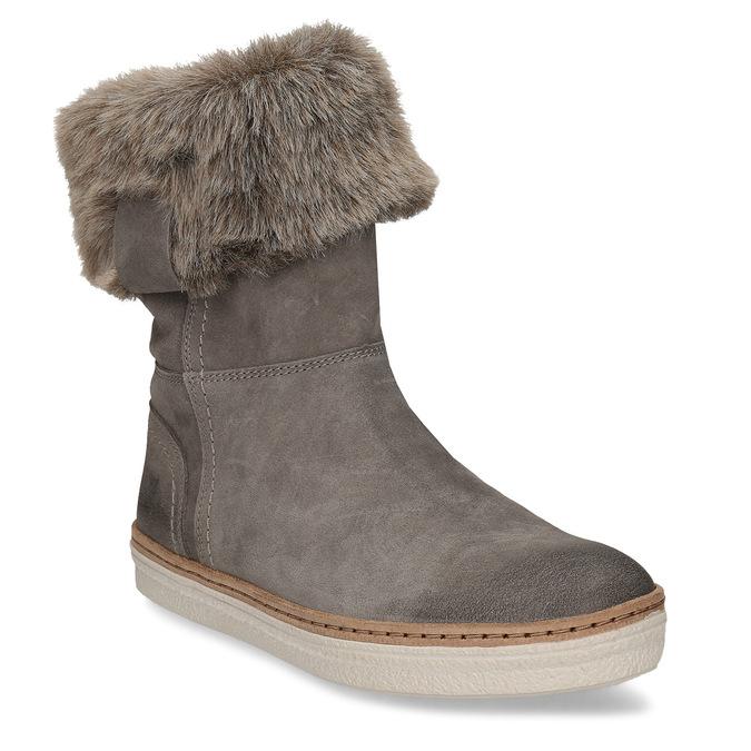 Kožená zimná obuv s kožúškom weinbrenner, šedá, 596-2633 - 13