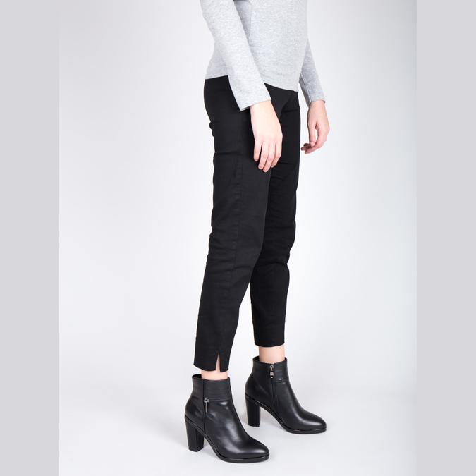 Kožená členková obuv na podpätku bata, čierna, 694-6632 - 18