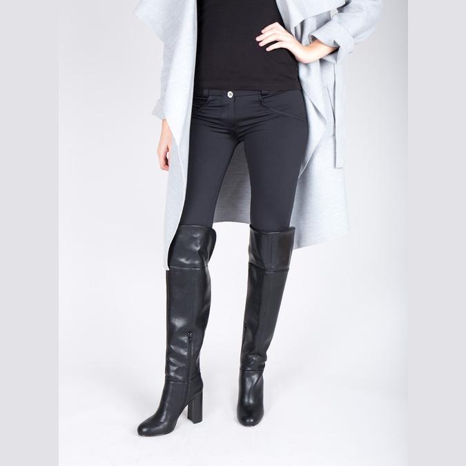 Čižmy nad kolená na podpätku bata, čierna, 791-6609 - 18