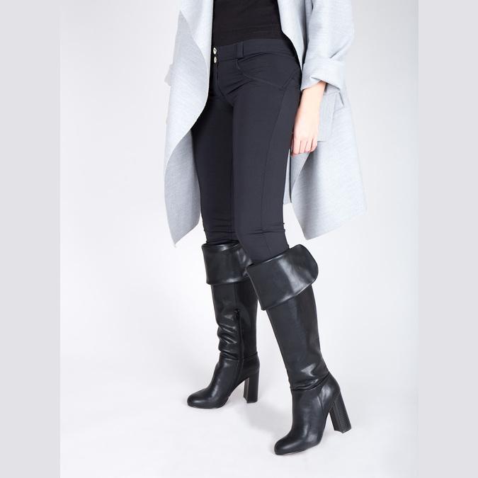 Čižmy nad kolená na podpätku bata, čierna, 791-6609 - 15