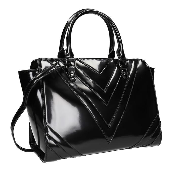 Lakovaná kabelka s prešitím bata, čierna, 961-6708 - 13