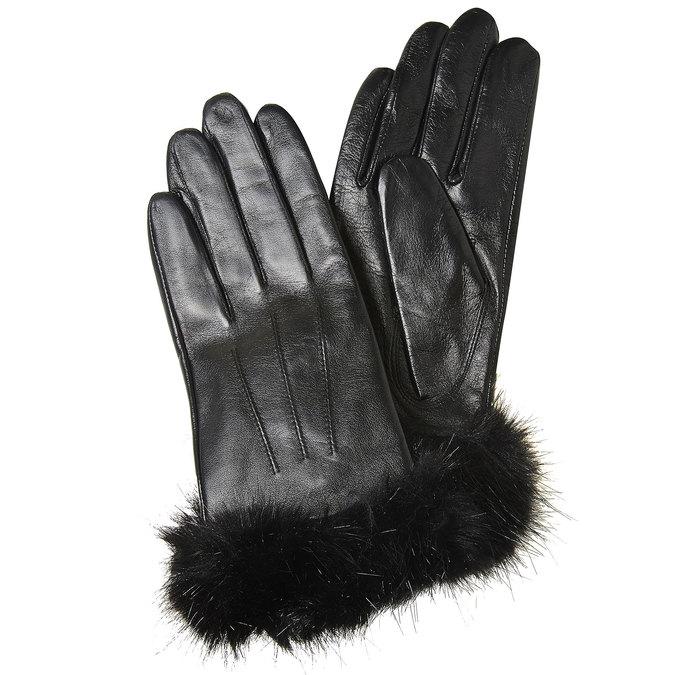 Kožené dámske rukavice bata, čierna, 904-6126 - 13