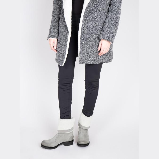 Kožená zimná obuv s kožúškom manas, šedá, 596-2601 - 18