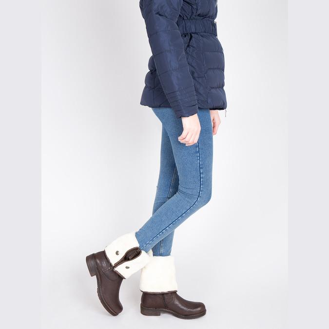 Kožená zimná obuv s kožúškom manas, hnedá, 596-4600 - 18