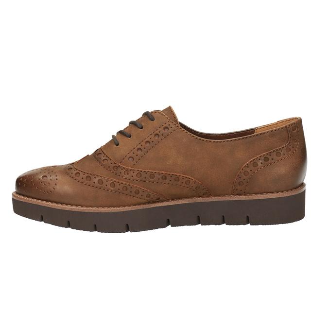 Dámske kožené poltopánky bata, hnedá, 526-4600 - 26