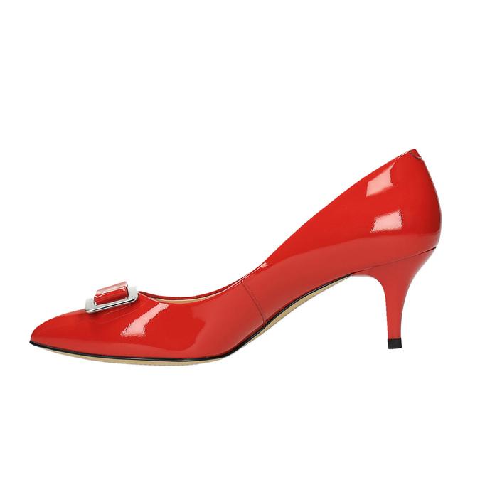 Dámske červené kožené lodičky bata, červená, 628-5630 - 26