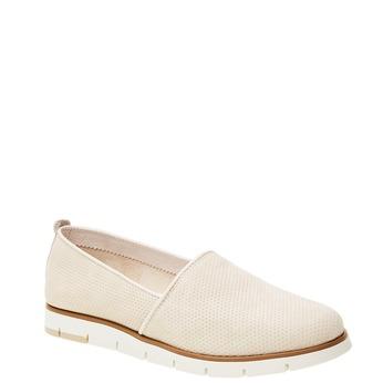 Kožené Slip-on topánky s perforáciou flexible, béžová, 513-8200 - 13