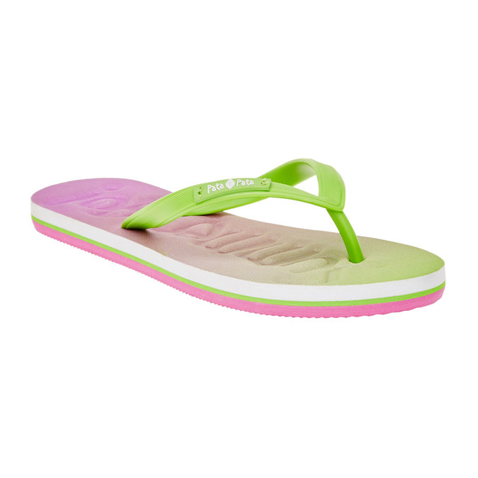 Dámske žabky pata-pata, ružová, zelená, 581-7601 - 13