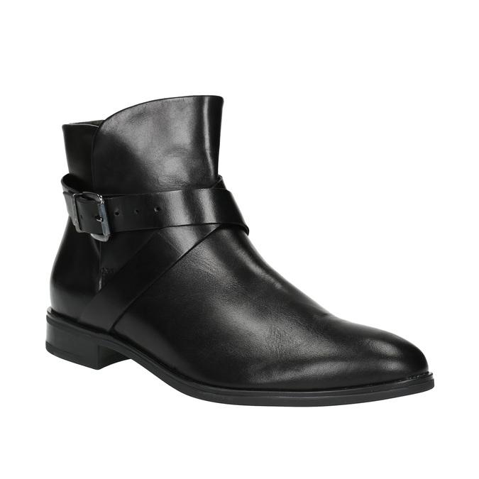 Kožená členková obuv s prackou bata, čierna, 594-6602 - 13