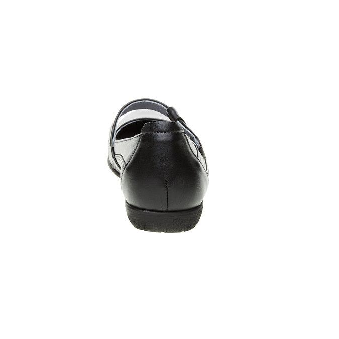 Kožené baleríny s remienkom cez priehlavok bata, čierna, 524-6497 - 17