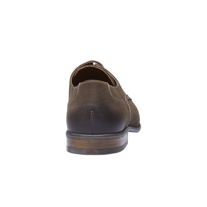 Pánske kožené poltopánky s perforáciou bata, hnedá, 826-4832 - 17