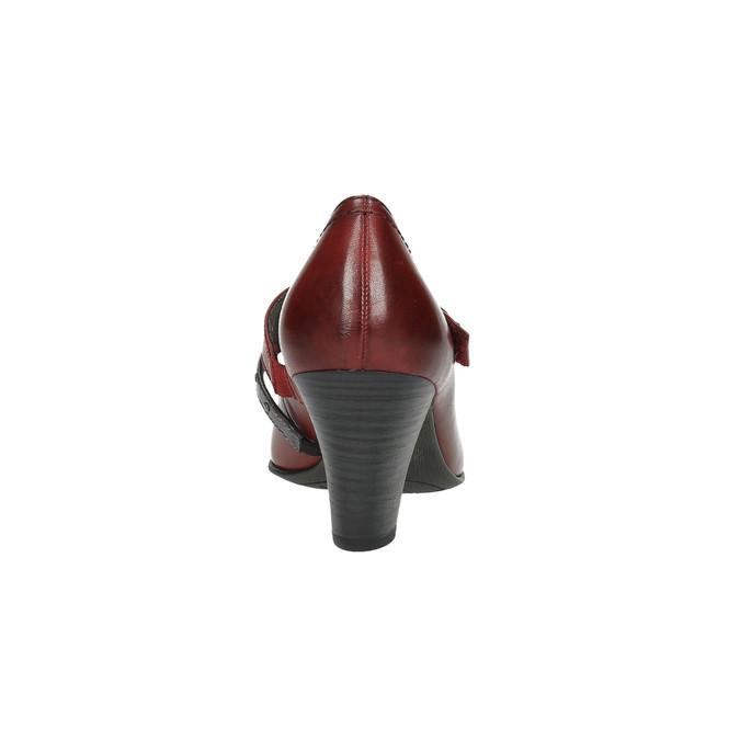 Kožené lodičky s remienkom cez pracku bata, červená, 626-5604 - 17